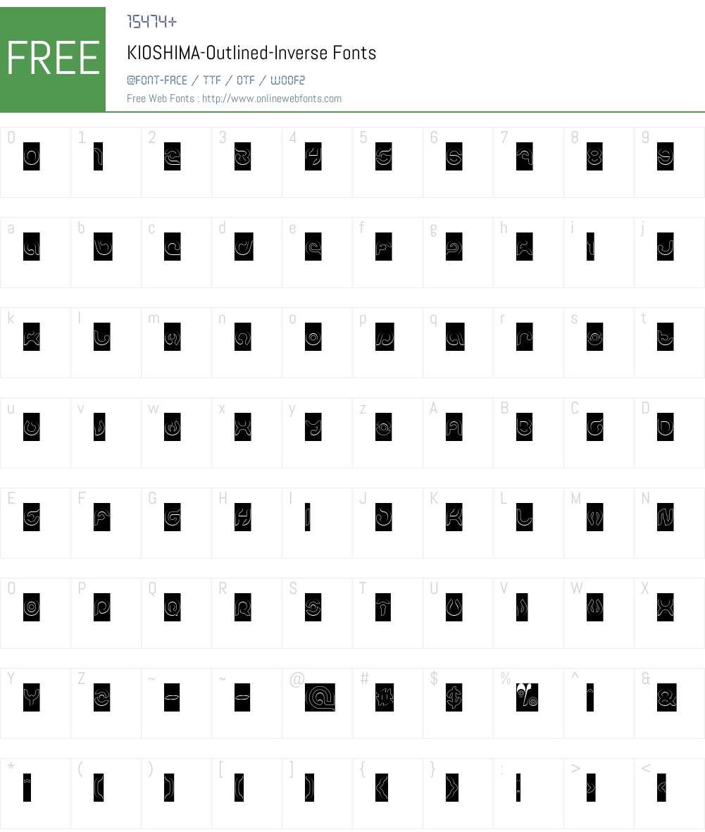 KIOSHIMA-Outlined-Inverse Font Screenshots