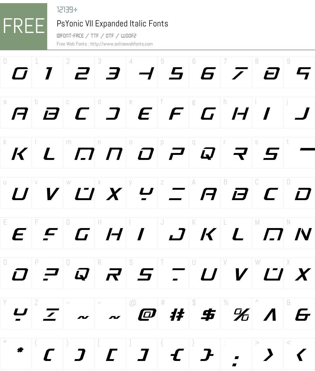 PsYonic VII Expanded Italic Font Screenshots