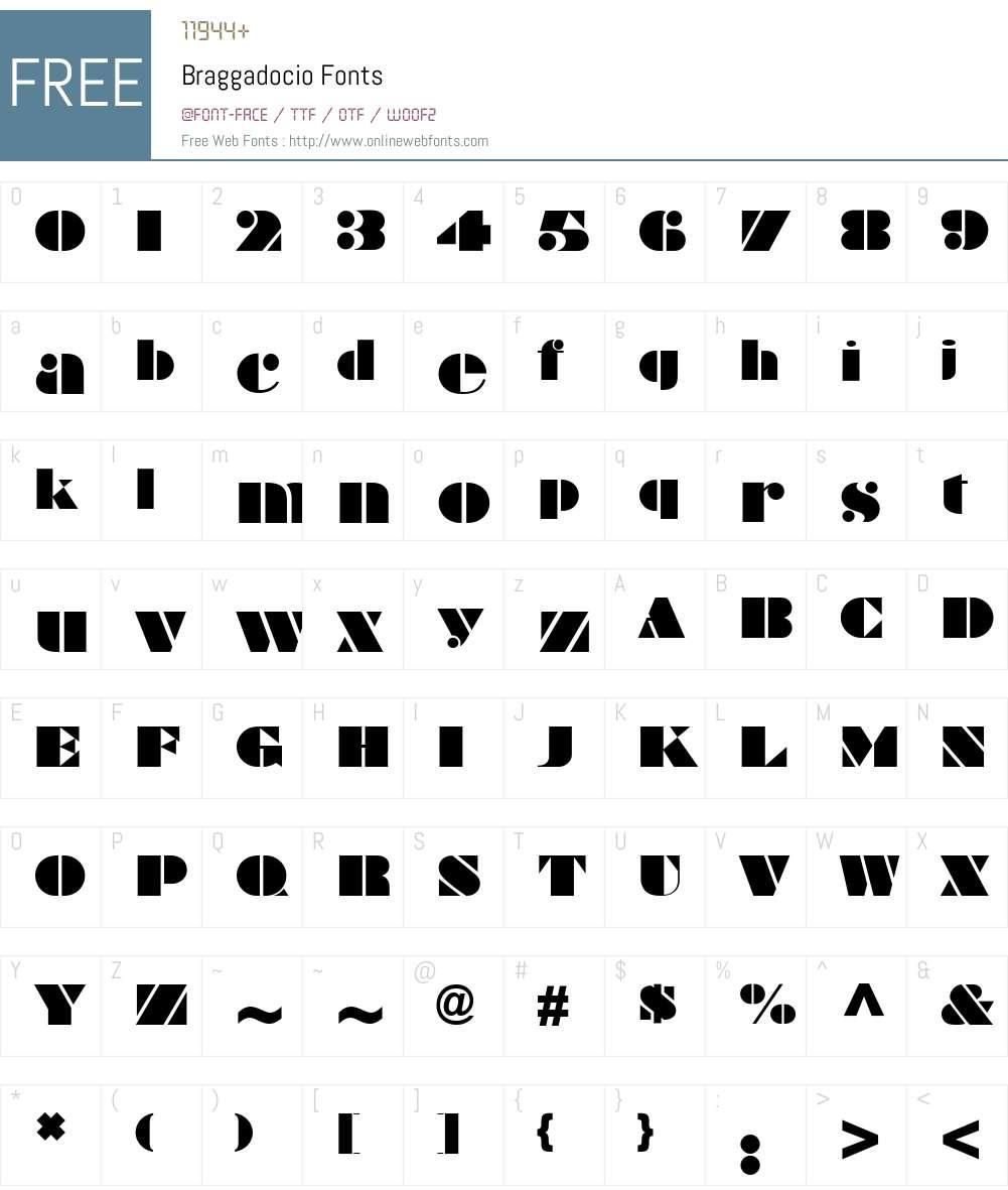 Braggadocio Font Screenshots