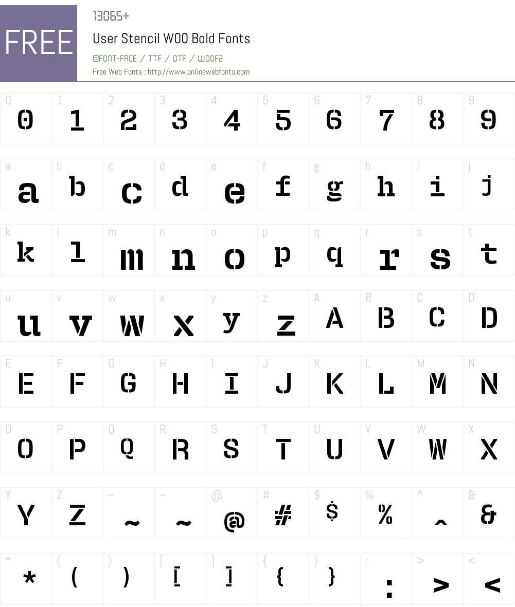 UserStencilW00-Bold Font Screenshots