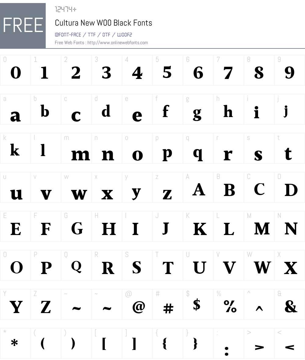 Cultura New Font Screenshots