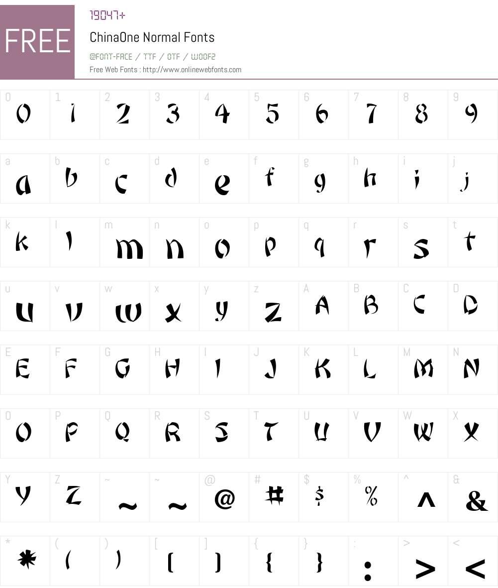 ChinaOne Font Screenshots