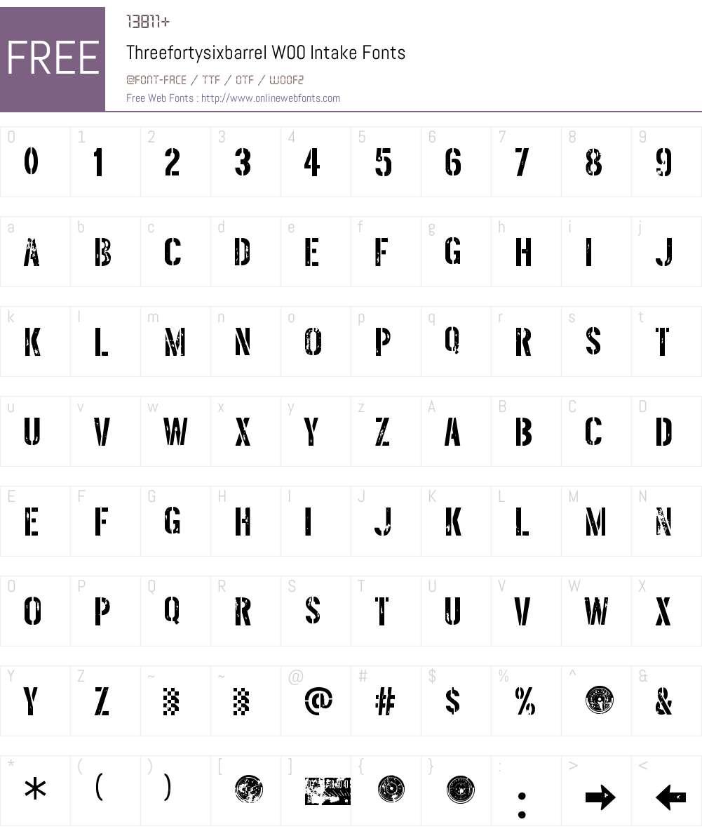ThreefortysixbarrelW00-Intake Font Screenshots