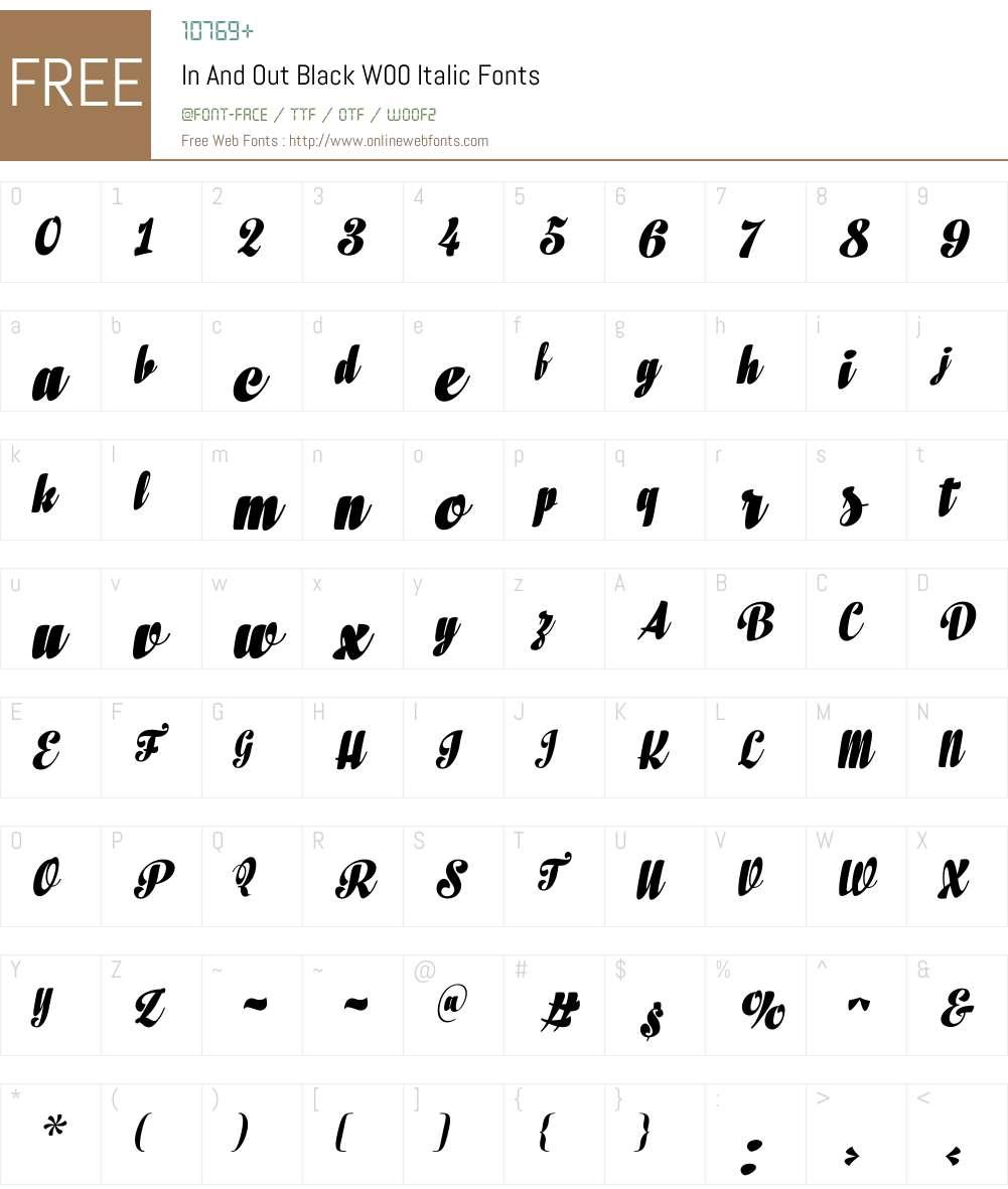 InAndOutBlackW00-Italic Font Screenshots