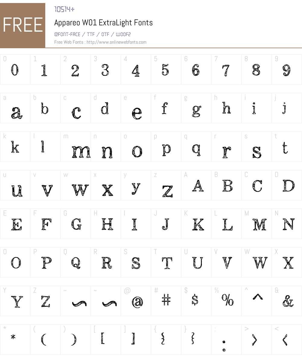 AppareoW01-ExtraLight Font Screenshots