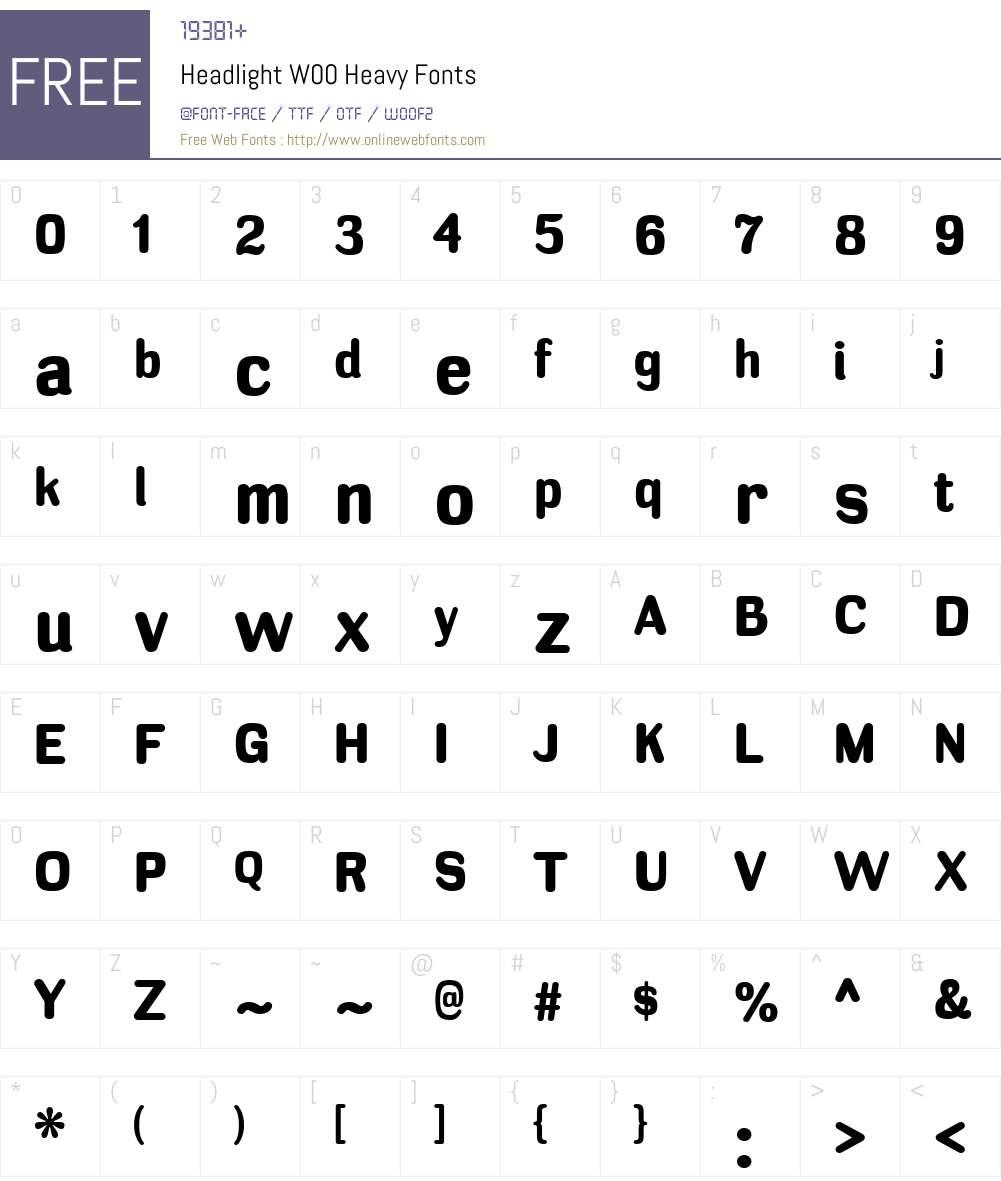 HeadlightW00-Heavy Font Screenshots