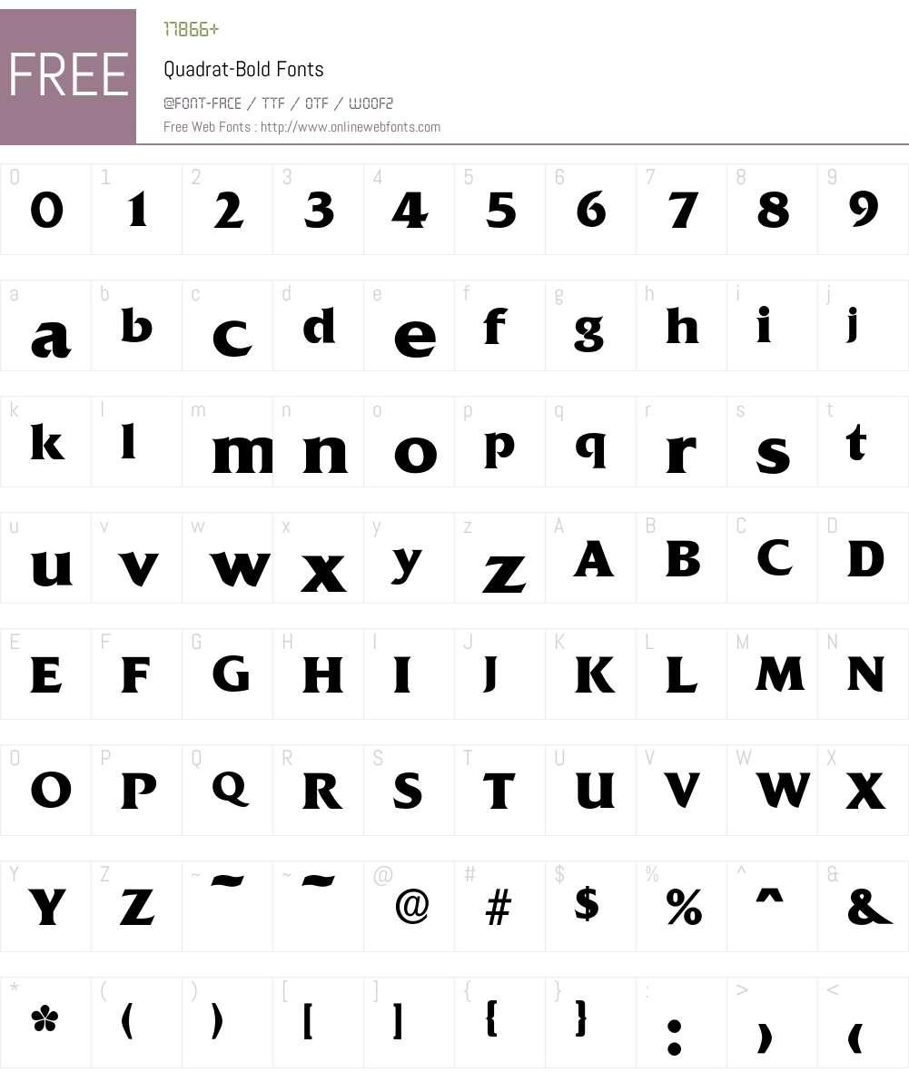 Quadrat-Bold Font Screenshots