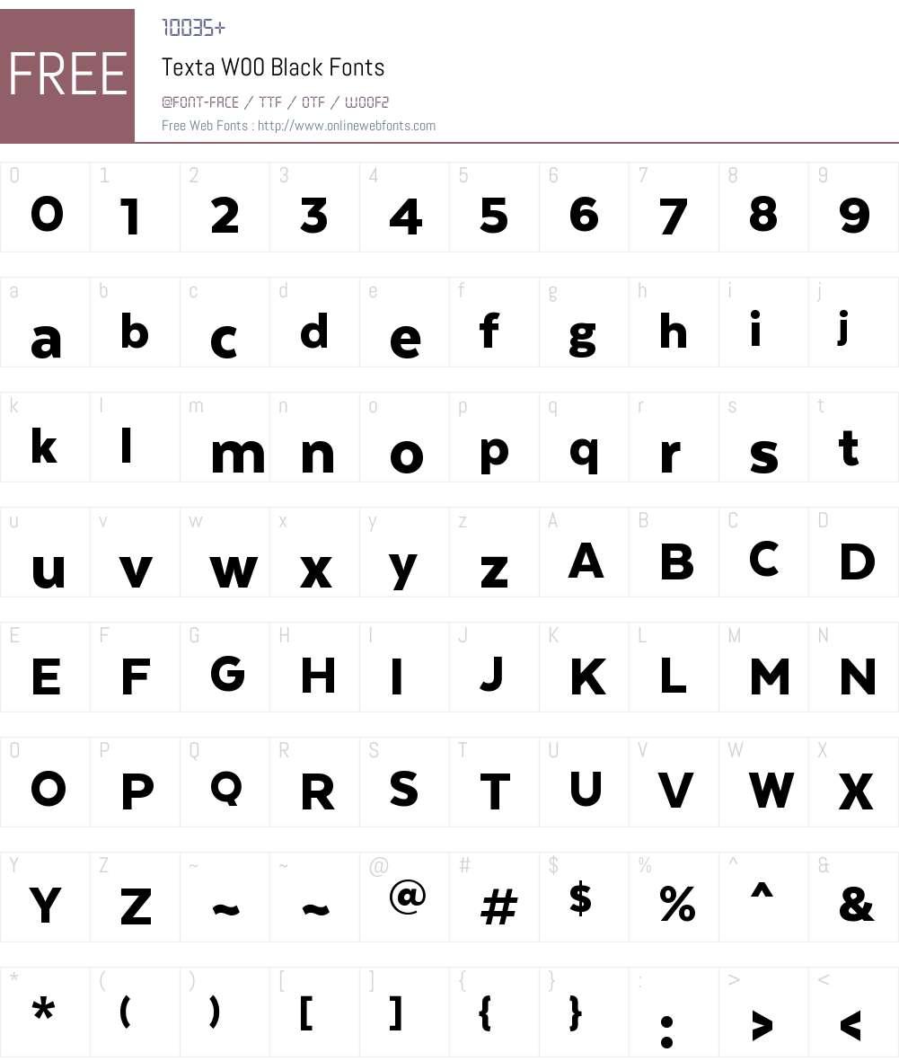 TextaW00-Black Font Screenshots