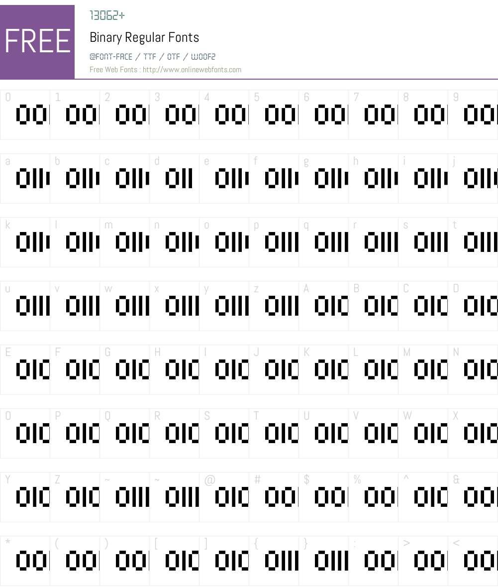 Binary Font Screenshots