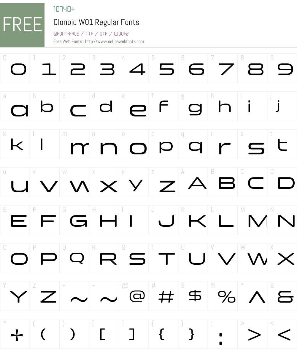 ClonoidW01-Regular Font Screenshots
