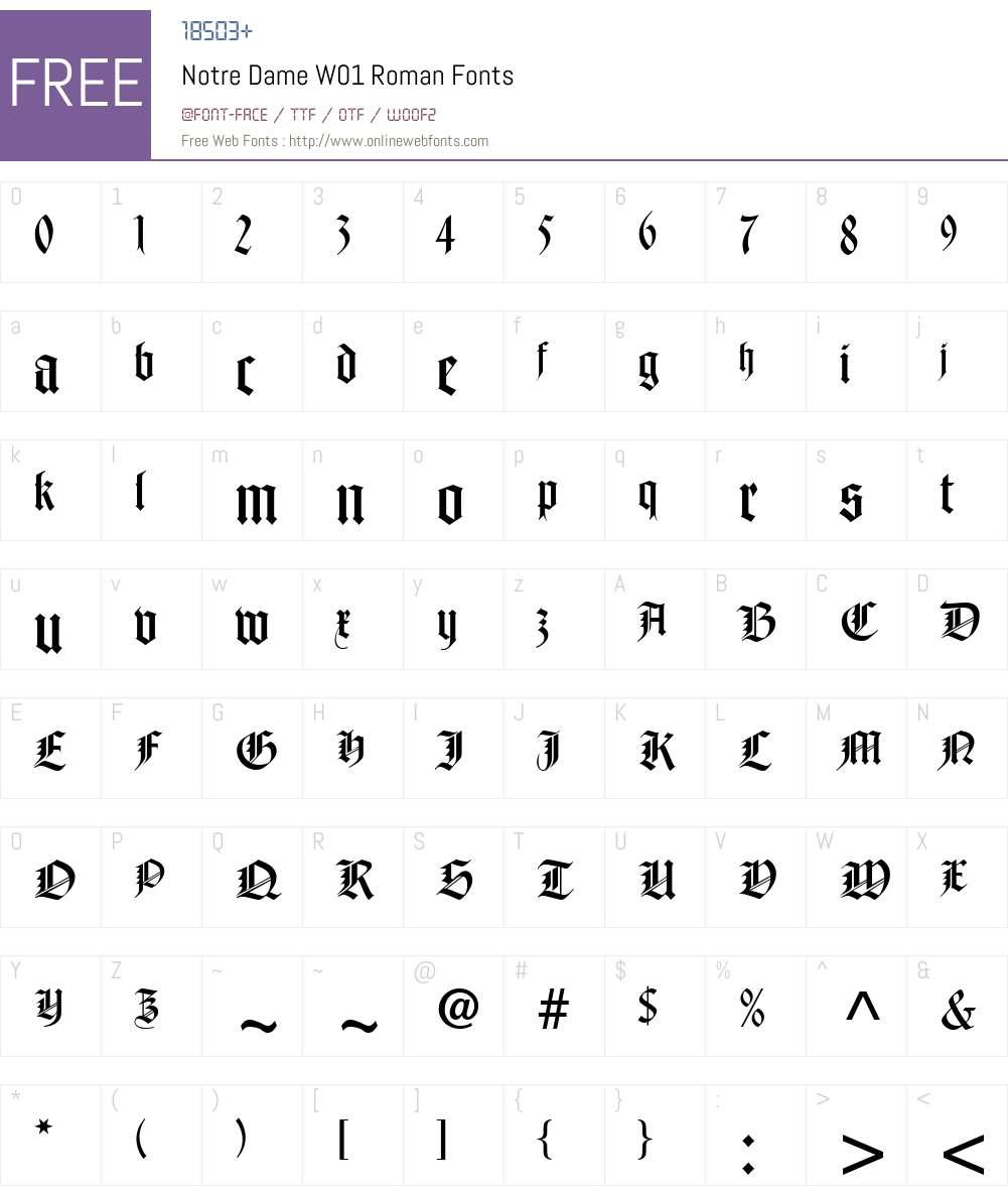 NotreDameW01-Roman Font Screenshots