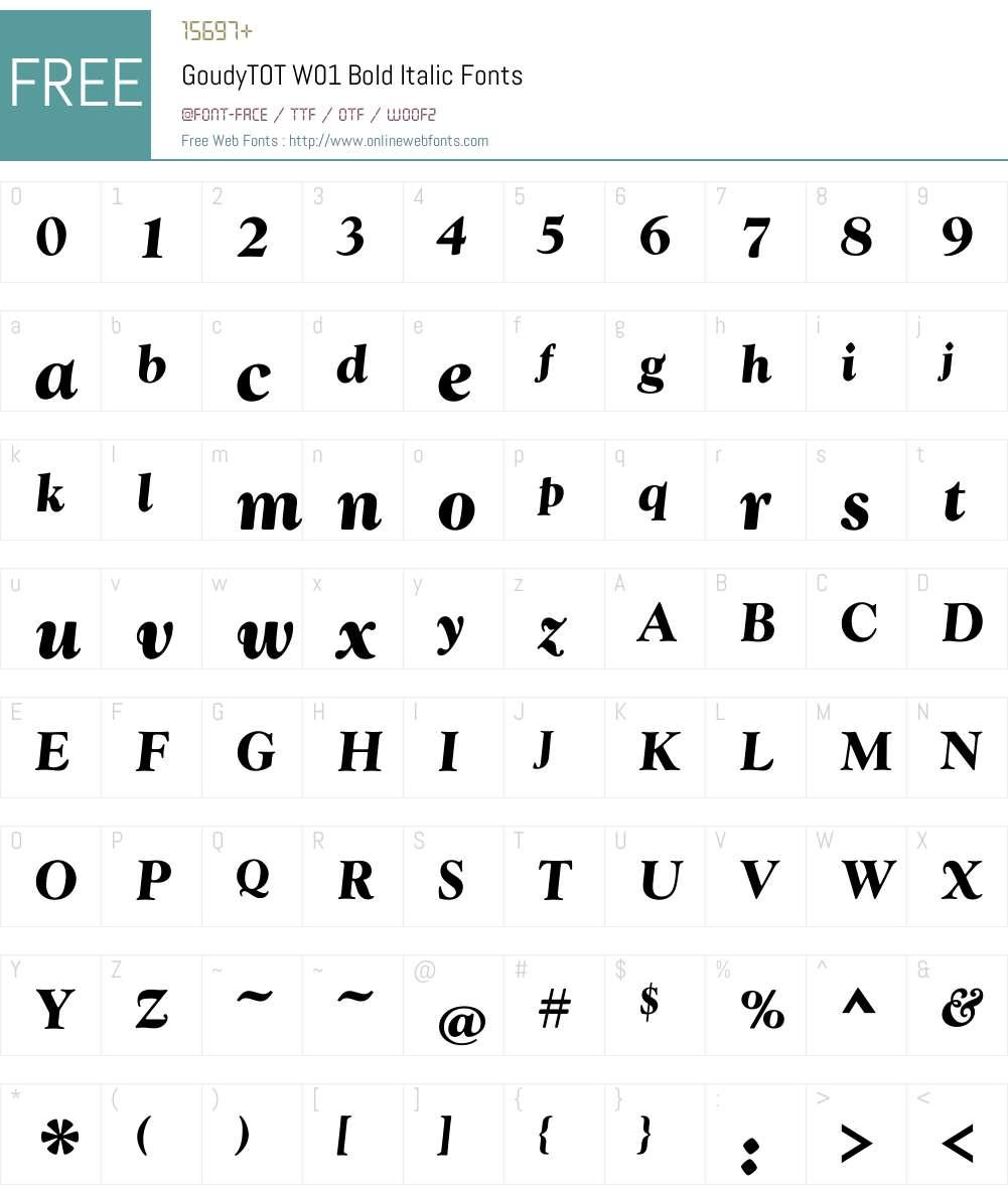 GoudyTOTW01-BoldItalic Font Screenshots