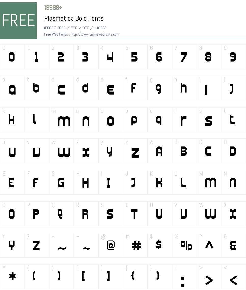 Plasmatica Font Screenshots