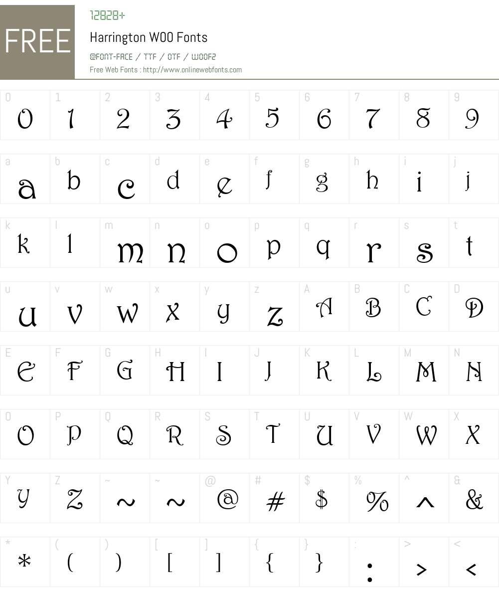 HarringtonW00 Font Screenshots