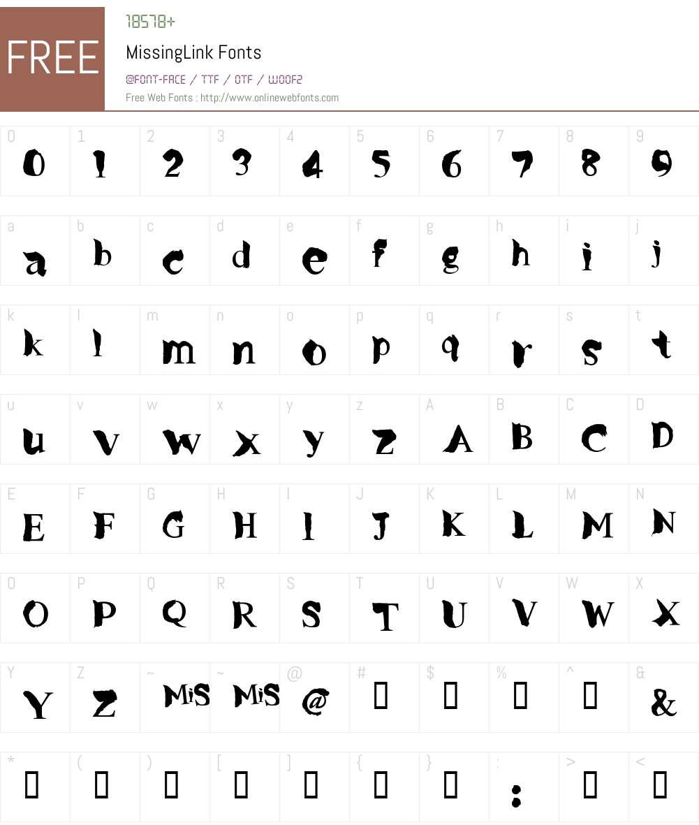MissingLink Font Screenshots