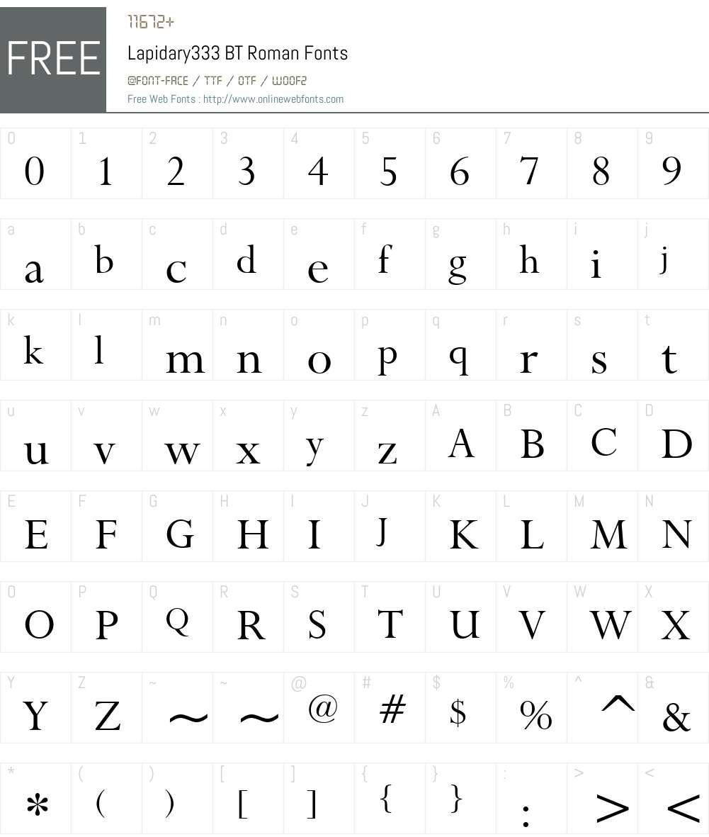 Lapidary333 BT Font Screenshots