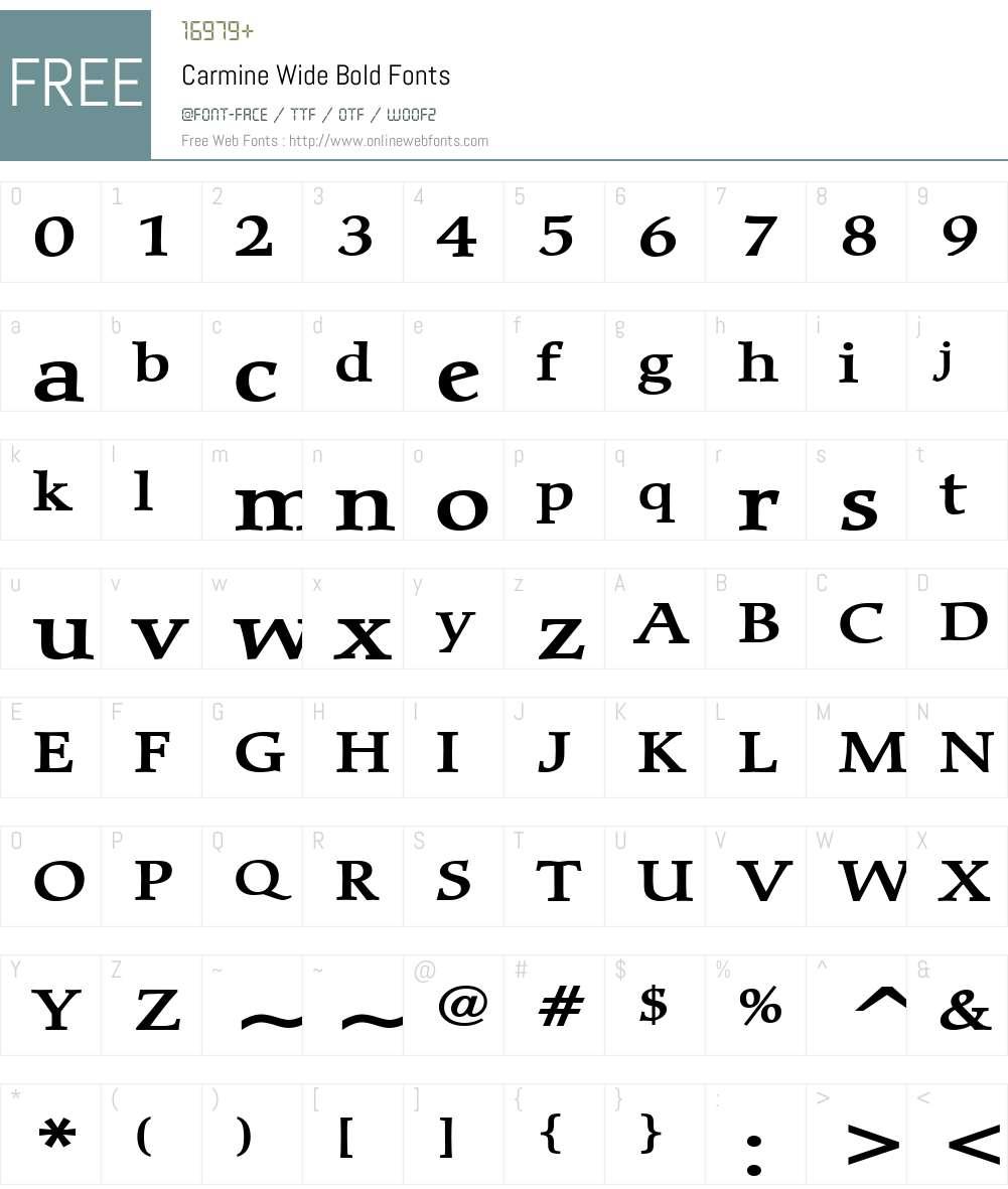 Carmine Wide Font Screenshots