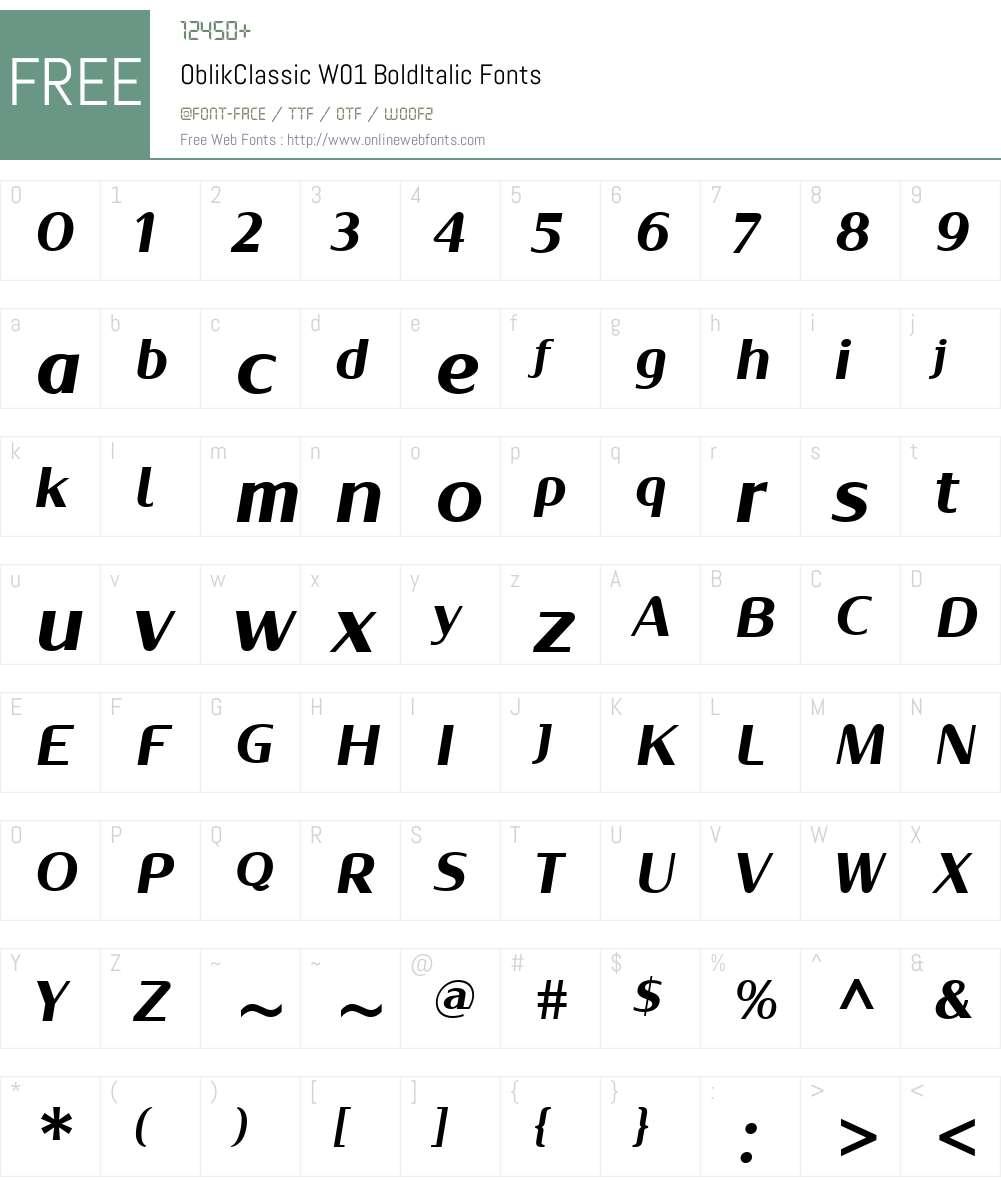 OblikClassicW01-BoldItalic Font Screenshots