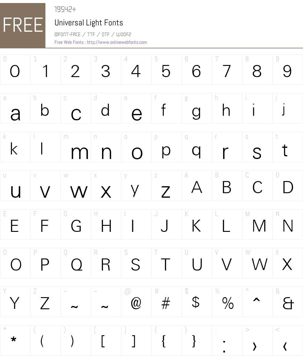 Universal Light Font Screenshots