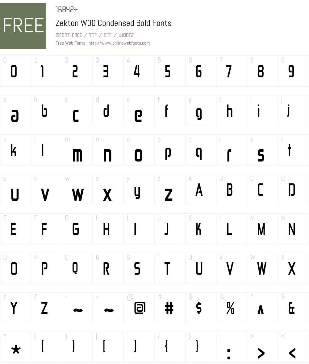 ZektonW00-CondensedBold Font Screenshots