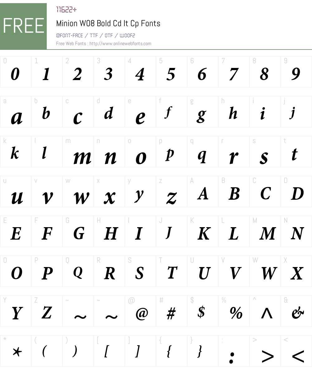 MinionW08-BoldCdItCp Font Screenshots