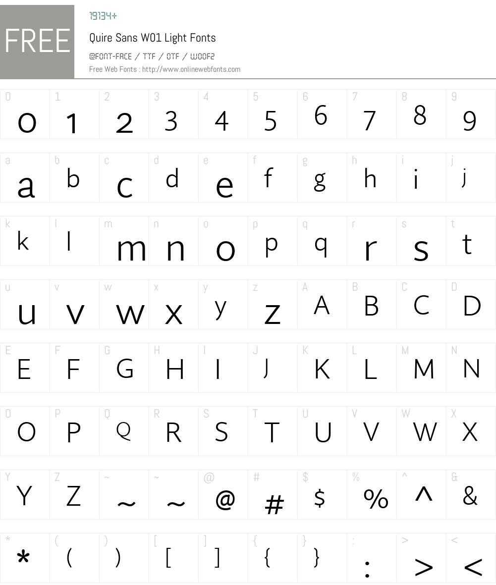 QuireSansW01-Light Font Screenshots