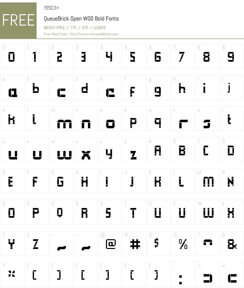 QueueBrickOpenW00-Bold Font Screenshots
