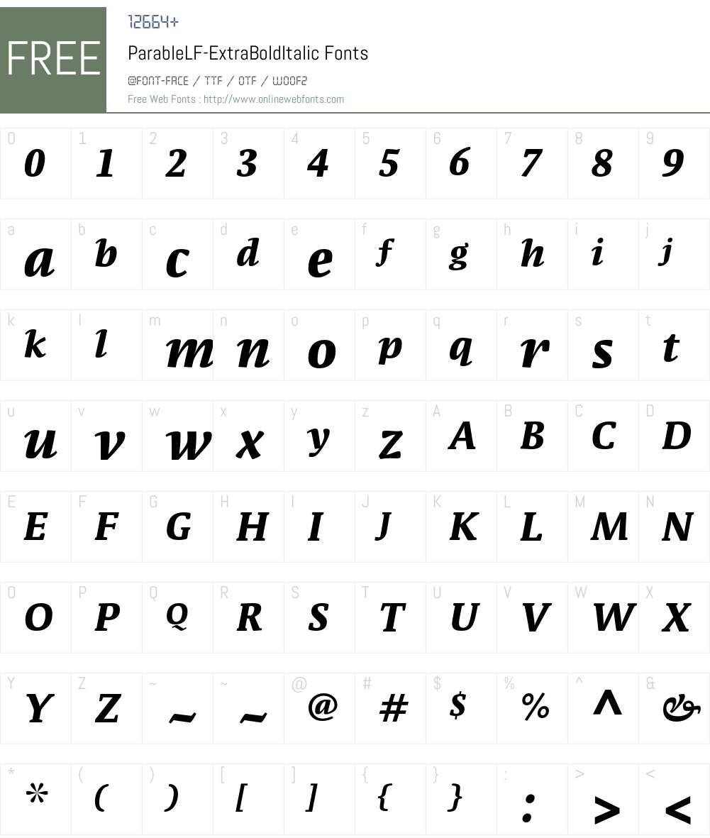 ParableLF-ExtraBoldItalic Font Screenshots