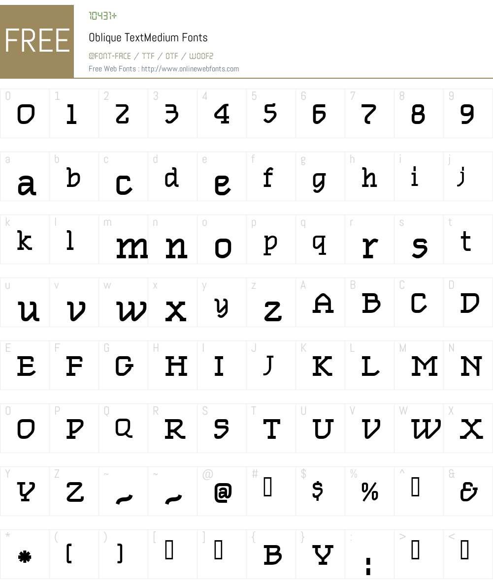 Oblique TextMedium Font Screenshots