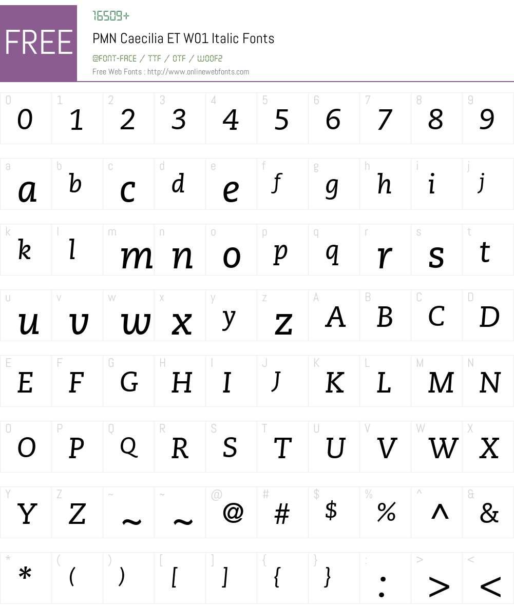 PMNCaeciliaETW01-Italic Font Screenshots