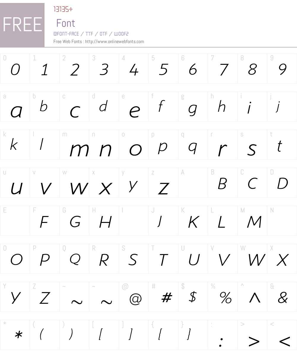 ShinnLightItalic Font Screenshots