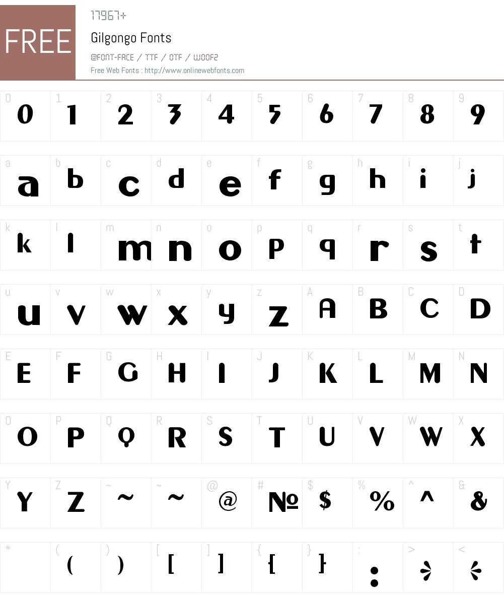Gilgongo Font Screenshots