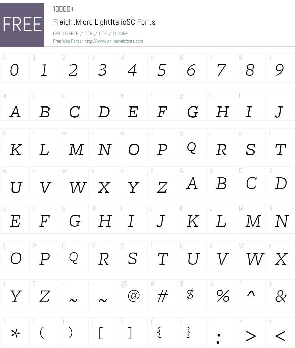 FreightMicroLightItalicSC Font Screenshots