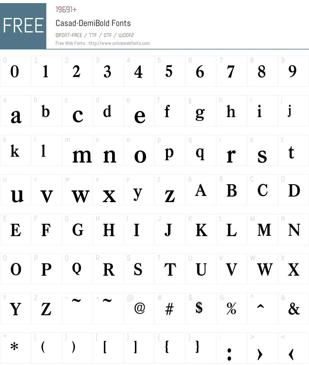 Casad-DemiBold Font Screenshots