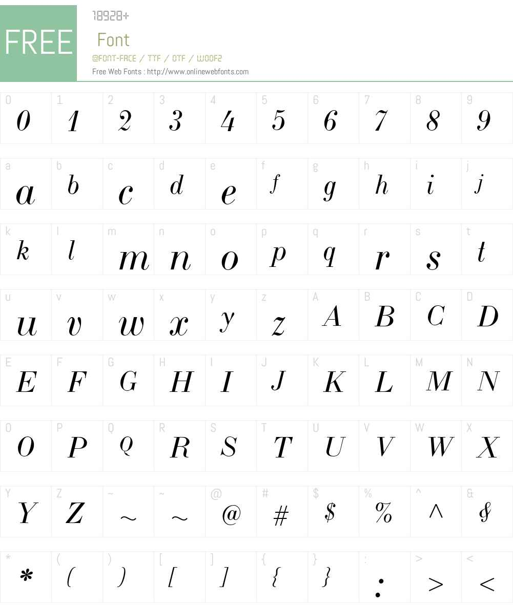 LTCBodoni175W01-Italic Font Screenshots