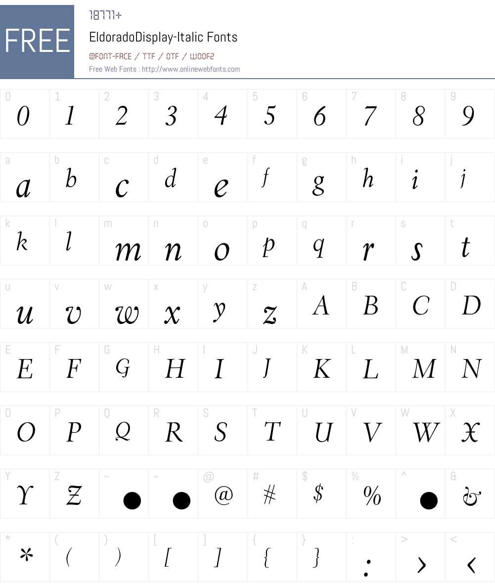 EldoradoDisplay Font Screenshots