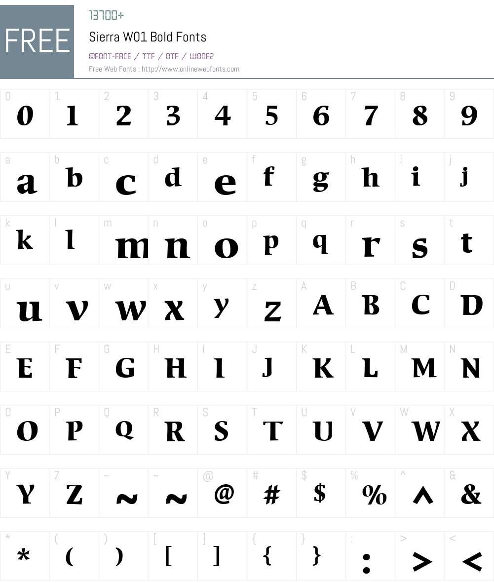 SierraW01-Bold Font Screenshots