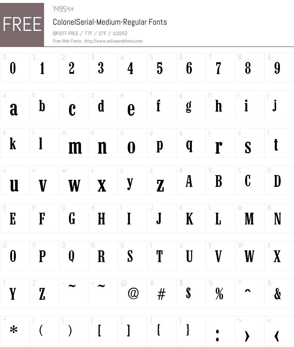 ColonelSerial-Medium Font Screenshots