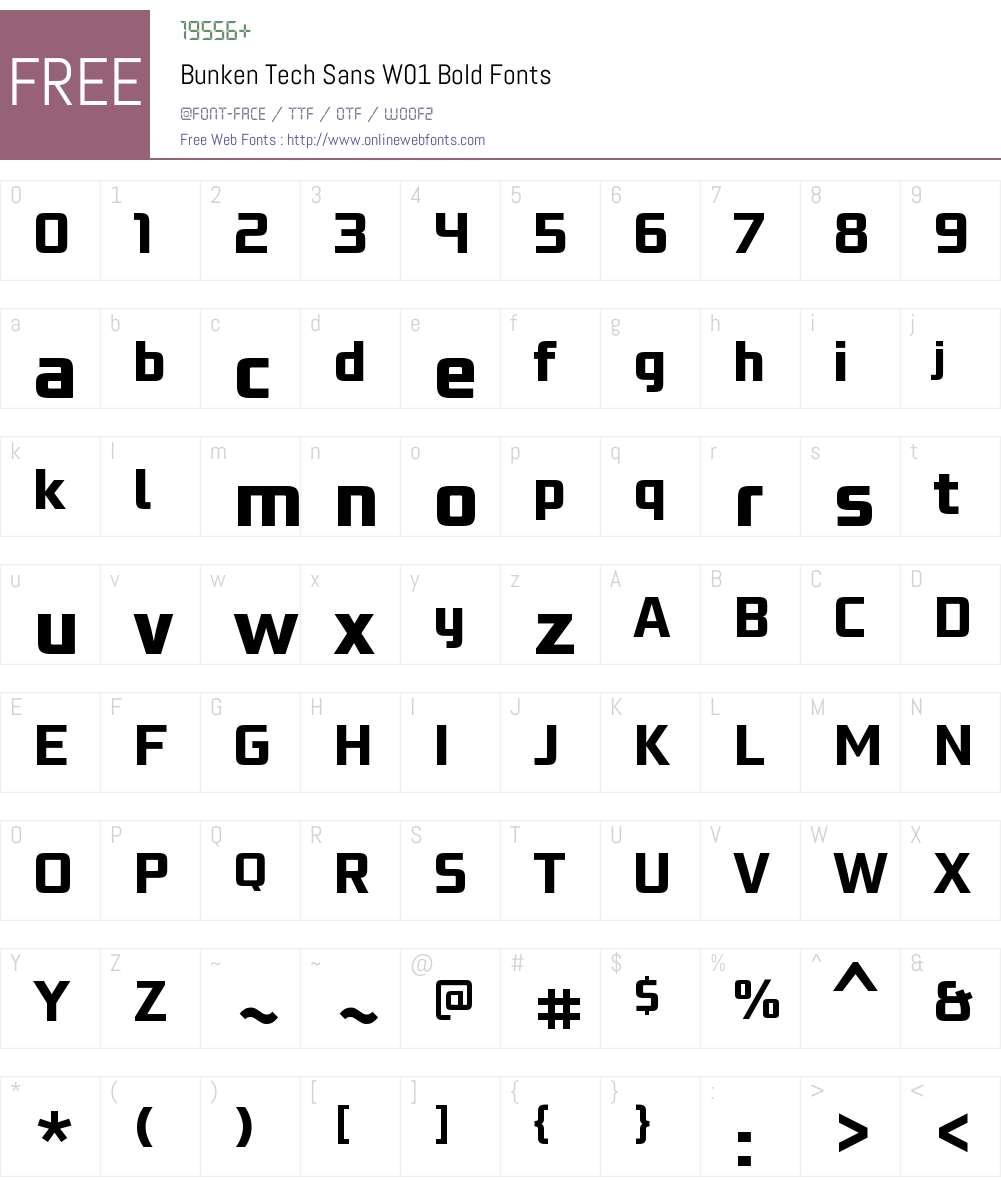 BunkenTechSansW01-Bold Font Screenshots