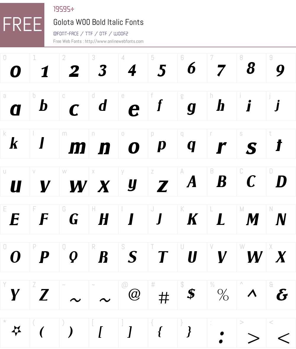 GolotaW00-BoldItalic Font Screenshots