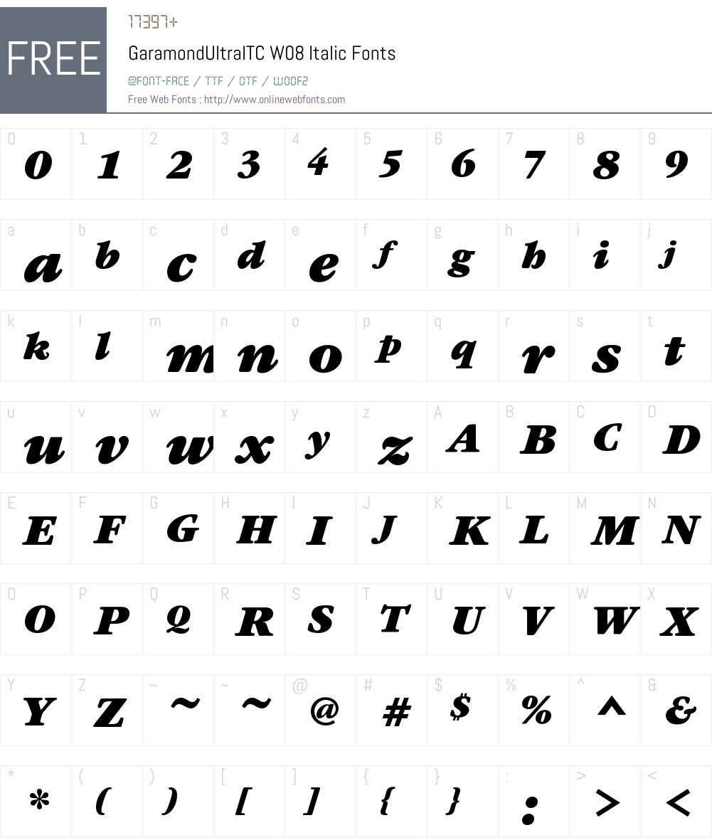 GaramondUltraITCW08-Italic Font Screenshots