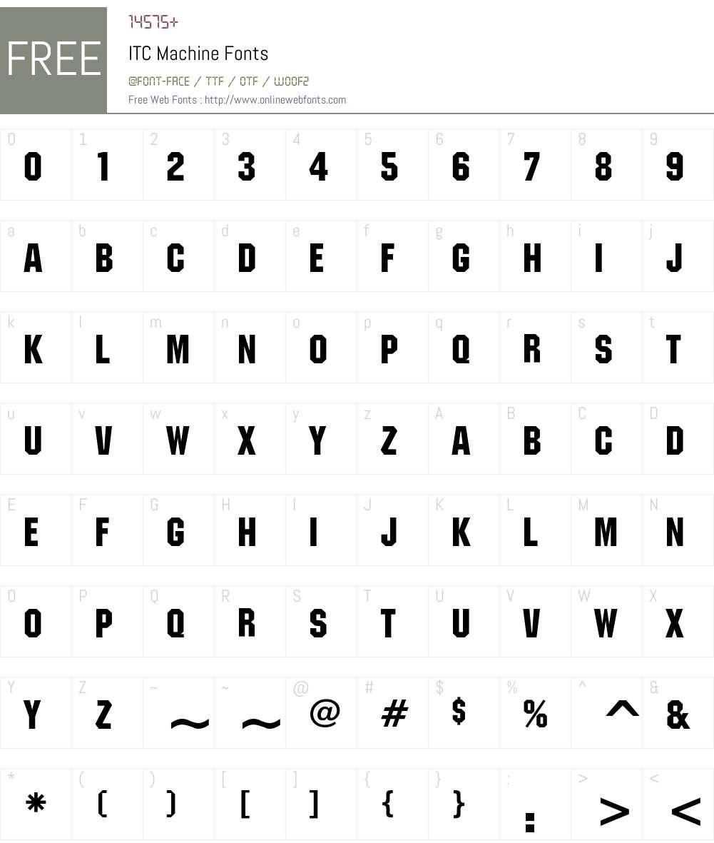 ITC Machine Font Screenshots