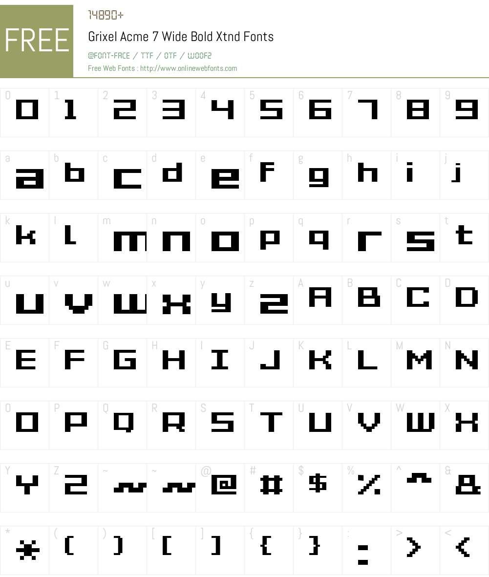 Grixel Acme 7 Wide Bold Xtnd Font Screenshots