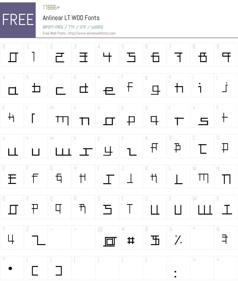 AnlinearLTW00-Regular Font Screenshots