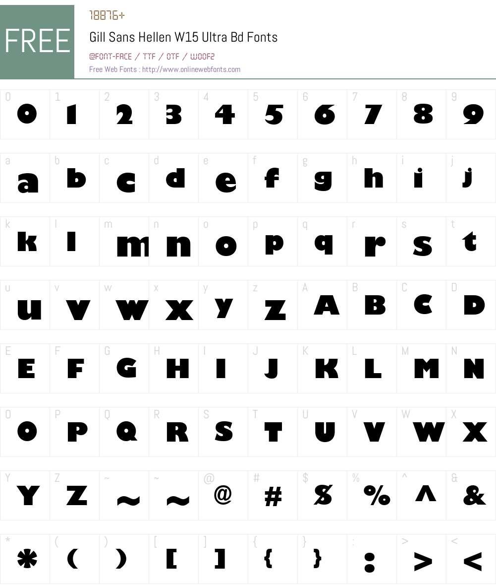 GillSansHellenW15-UltraBd Font Screenshots