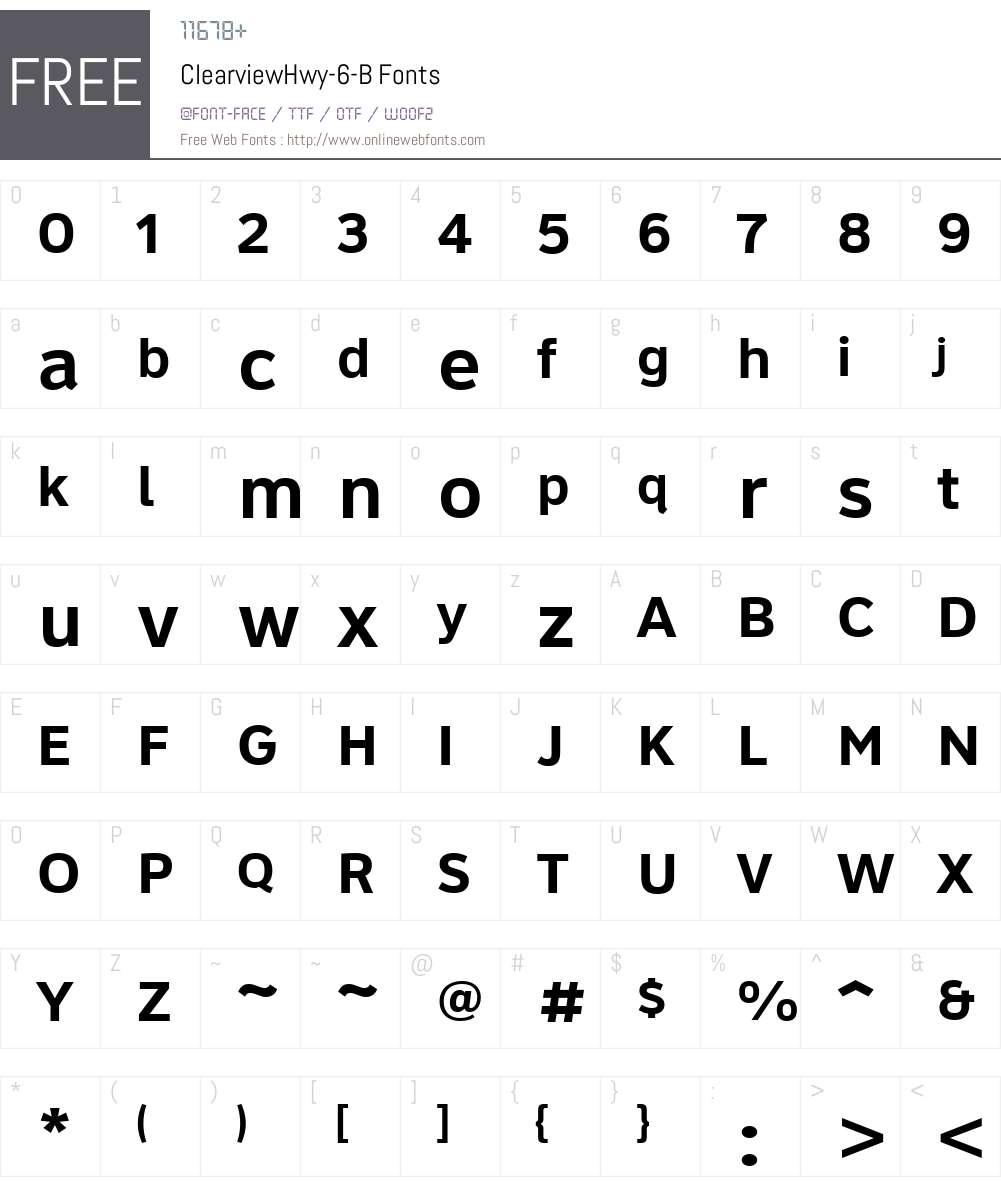 ClearviewHwy-6-B Font Screenshots