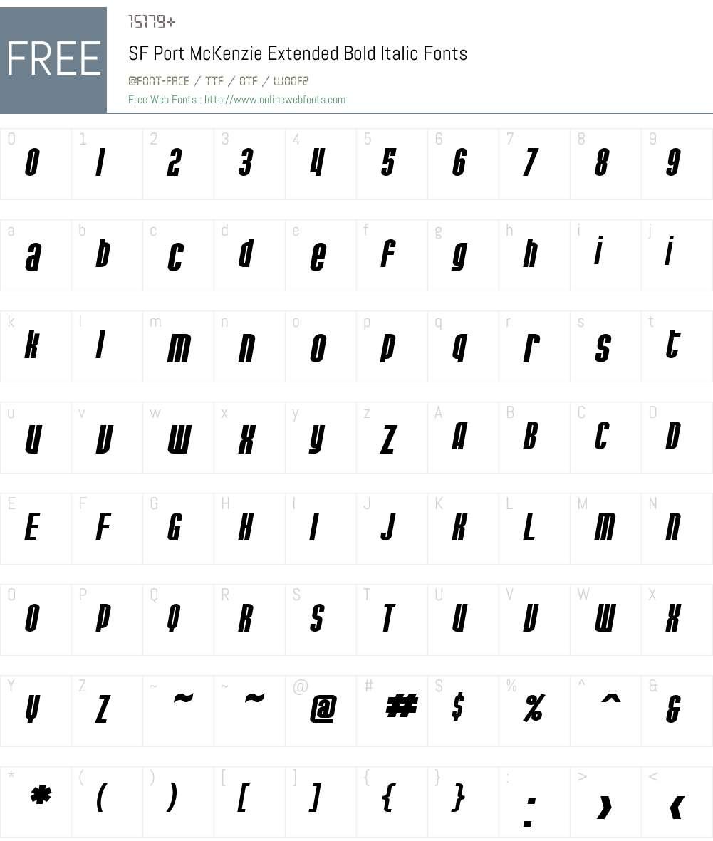 SF Port McKenzie Extended Font Screenshots