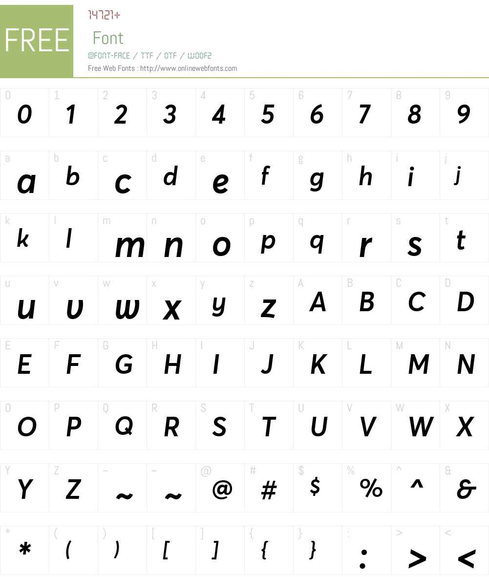 AvertaStd-SemiboldItalic Font Screenshots