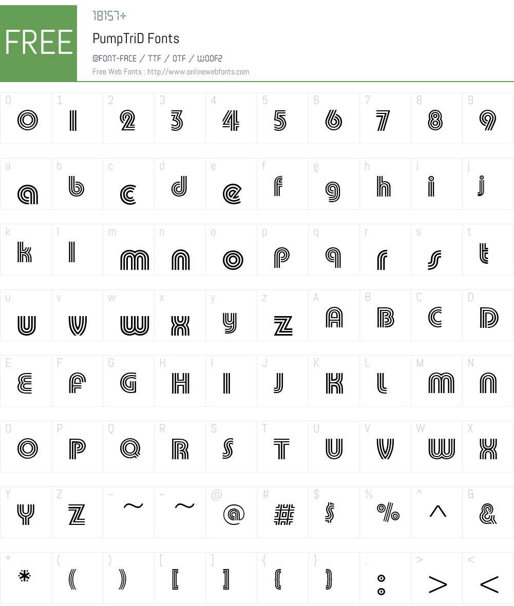 PumpTriD Font Screenshots