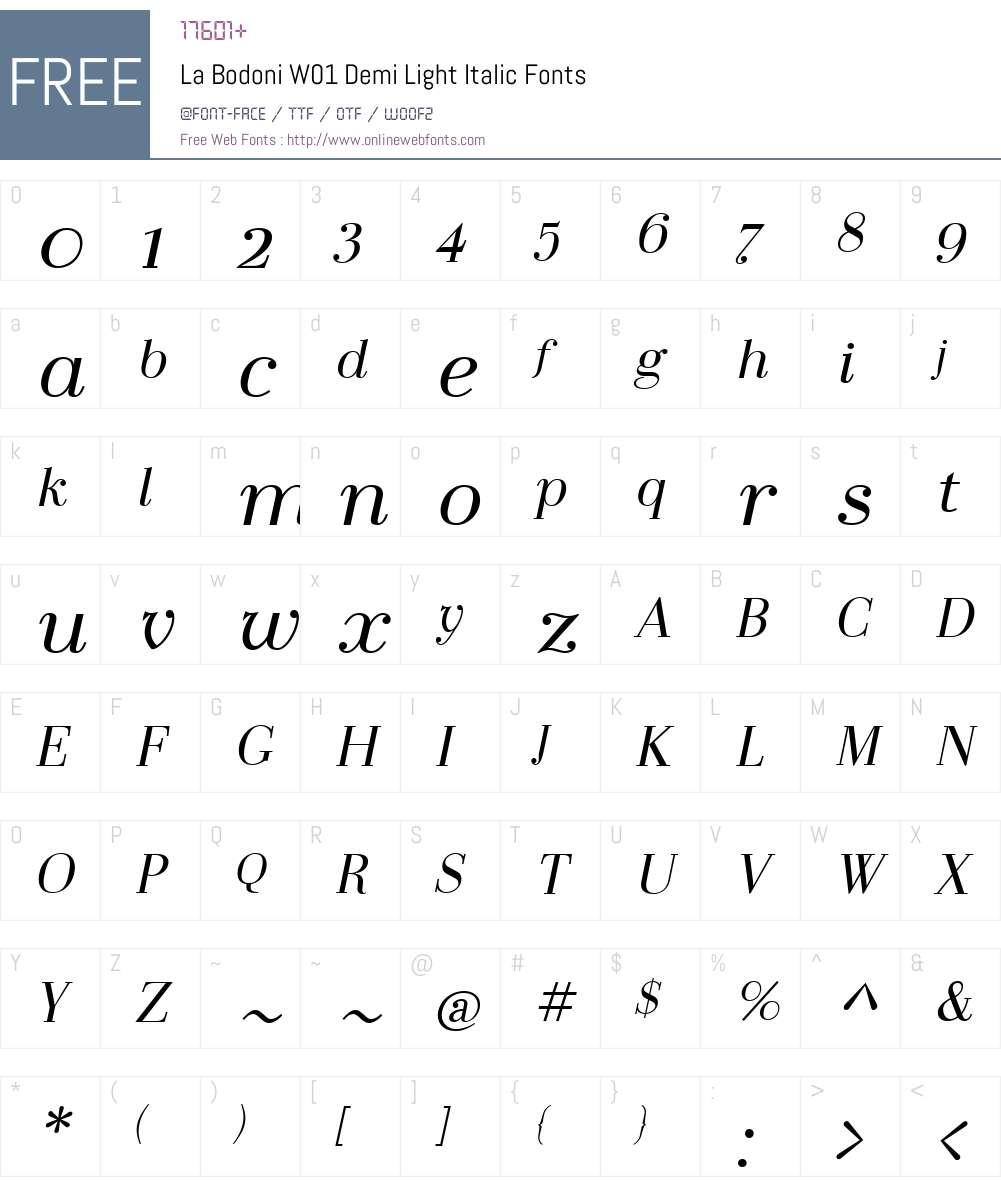 LaBodoniW01-DemiLightItalic Font Screenshots